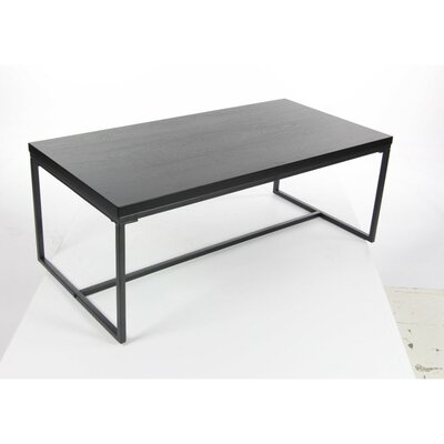 Gomes Metal Wood Coffee Table Base Finish: Gray, Top Finish: Gray