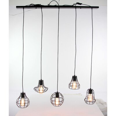 Grisborne 5-Light Kitchen Island Pendant Shade Color: Silver
