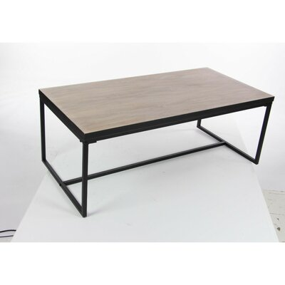 Gomes Metal Wood Coffee Table Base Finish: Black, Top Finish: Robust