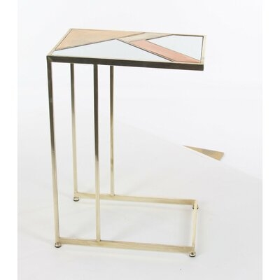 Colberta Metal Mirror End Table