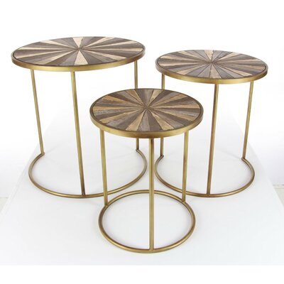 Keyshawn 3 Piece Metal End Table Set