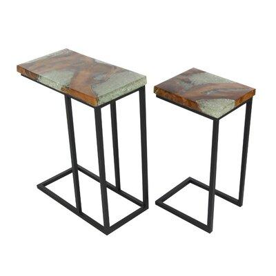 Ailey 2 Piece Teak Wood Nesting Tables Set