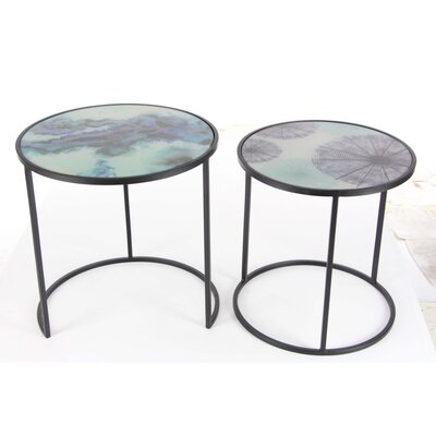 Eton 2 Piece Metal Glass Nesting Tables Set