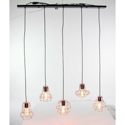 Grisborne 5-Light Kitchen Island Pendant Shade Color: Copper