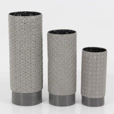 Ceramic 3 Piece Table Vase Set Color: Gray