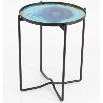 Cirillo Sturdy Iron Glass End Table