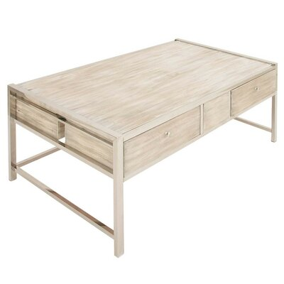 Fabiola Stainless Steel Wood Coffee Table