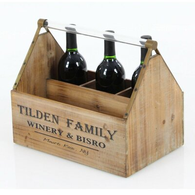 Annawan Rectangular Wood Tabletop Wine Bottle Rack