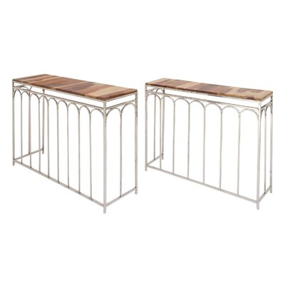 Merriwood Wood Iron 2 Piece Console Table Set