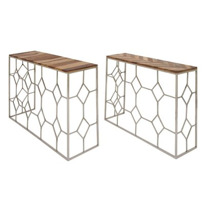 Gibbon Iron Wood 2 Piece Console Table Set