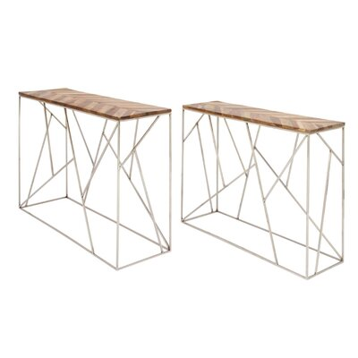 Dubin Iron Wood 2 Piece Console Table Set