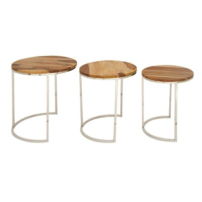 Brittanie Wood Iron 3 Piece Nesting Tables