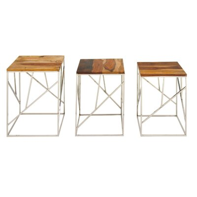 Skye Wood Iron 3 Piece Nesting Tables
