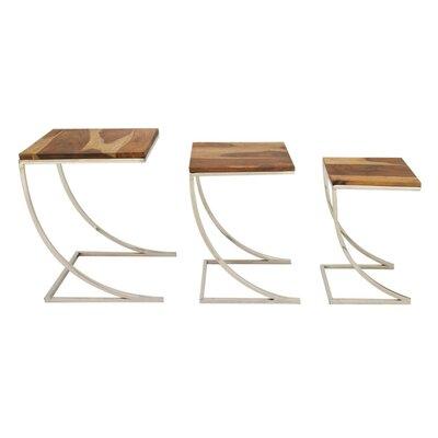 Darien Wood Iron 3 Piece Nesting Tables
