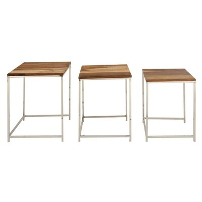 Agawam Simple Wood Iron 3 Piece Nesting Tables