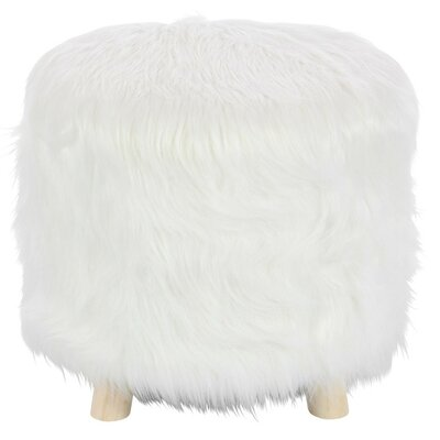 Delrick Faux Fur Wood Ottoman Upholstery: White