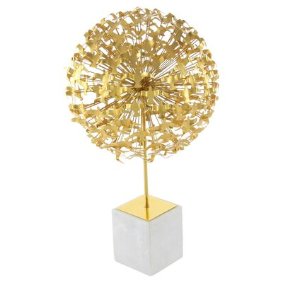 Libra Metal Marble Seagull Ball Sculpture Color: Gold