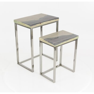 Alpharetta 2 Piece Nesting Table Set Finish: Gray