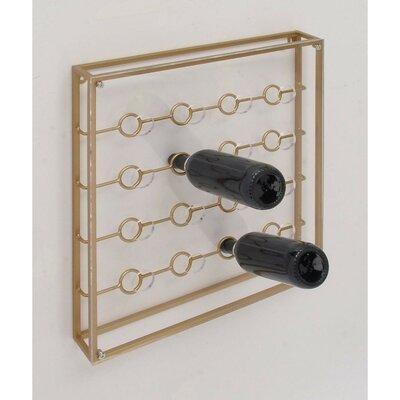 Gentile Elegantly Styled Metal Acrylic 16 Bottle Wall Mounted Wine Bottle Rack Finish: Golden