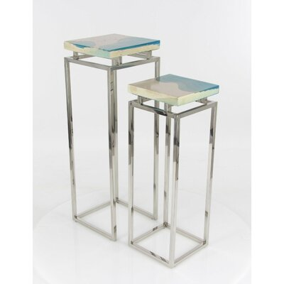 Eila 2 Piece Pedestal Nesting Tables Set Color: Blue