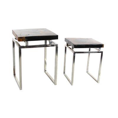 Abbe 2 Piece Teak Wood Metal Nesting Tables Set