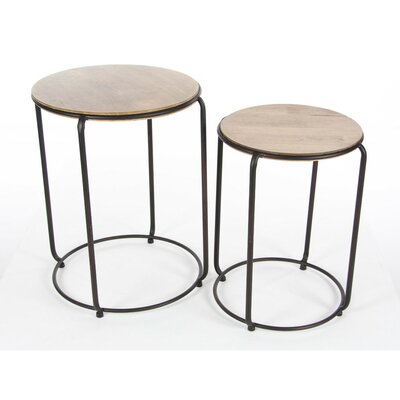 Dahlgren Circular Metal Wood 2 Piece Nesting Tables