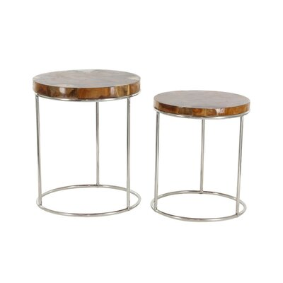 Dearing 2 Piece Teak Round Shape Nesting Tables Set