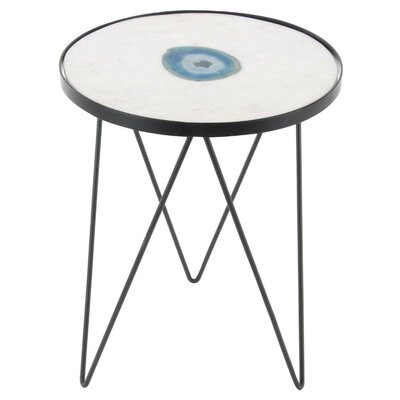 Raiana Round Marble/Agate End Table
