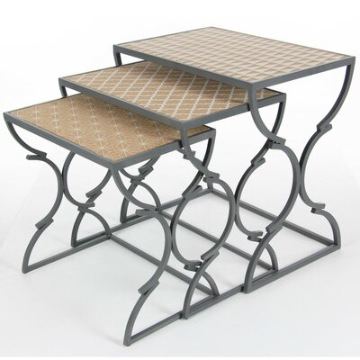 Ocilla Metal Wood 3 Piece Nesting Tables