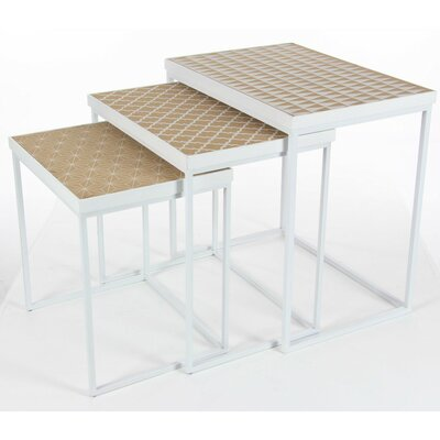 Elleny Metal Wood 3 Piece Nesting Tables