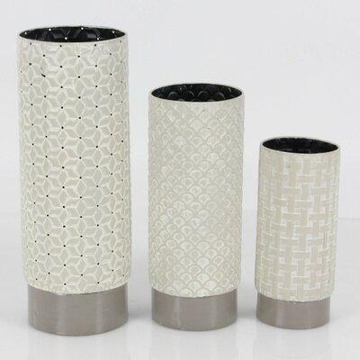 Ceramic 3 Piece Table Vase Set Color: White