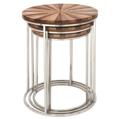 Figueiredo Stainless Steel Wood 3 Piece Nesting Tables