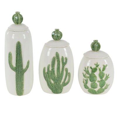 Embossed Cactus Designed Ceramic 3 Piece Decorative Jar Set
