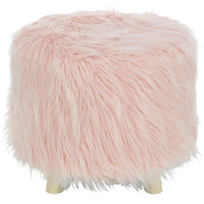 Delrick Faux Fur Wood Ottoman Upholstery: Pink