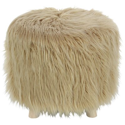 Delrick Faux Fur Wood Ottoman Upholstery: Wood