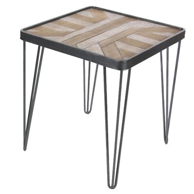 Rickia Square Metallic Wood End Table