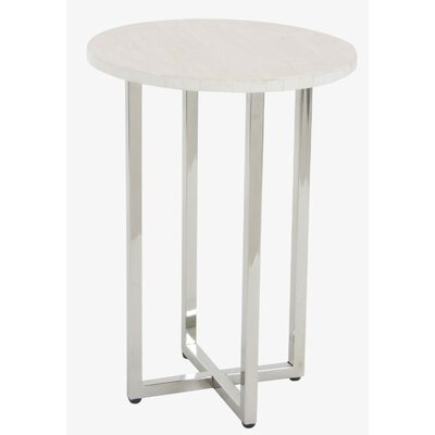 Jaime Stainless Steel End Table Finish: White
