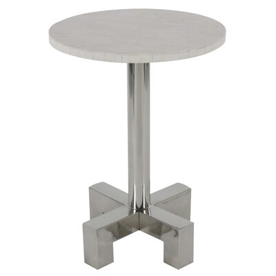 Jaime Stainless Steel End Table Color: White
