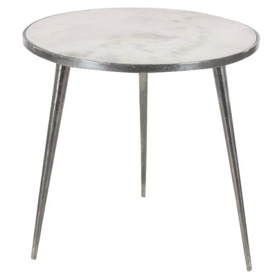 Brackenley Marble End Table Finish: Silver