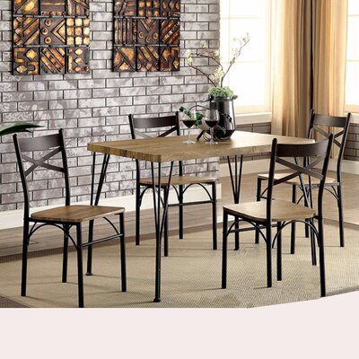 Owasco Industrial 5 Piece Dining Set