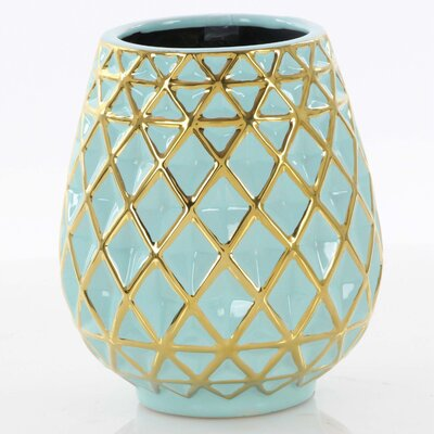 Bungalow Rose Turquoise And Golden Ceramic Table Vase
