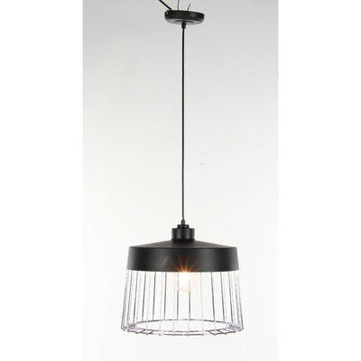 Phoenix 1-Light Mini Pendant Size: 11 H x 14 W x 14 D, Shade Color: Silver