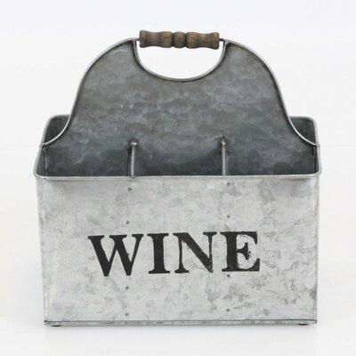 Otisco Vintage Style Rustic Metal Crate Tabletop Wine Bottle Rack