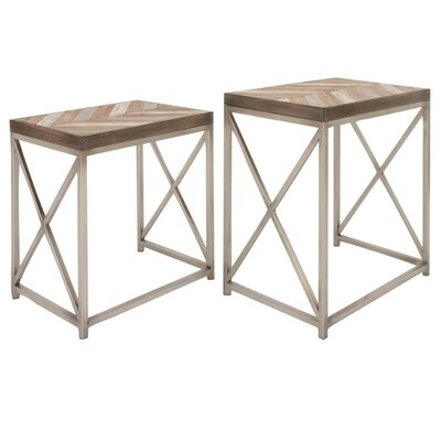 Vanissea Metal Wood 2 Piece Nesting Tables