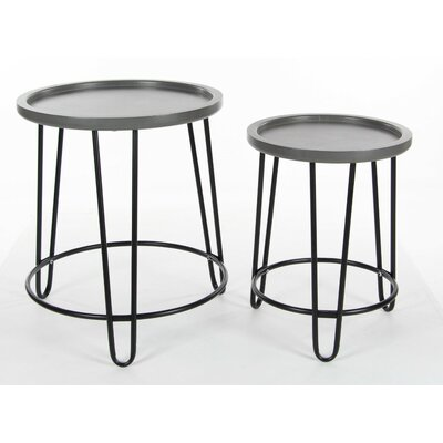 Cambra 2 Piece Wood Metal Nesting Tables Set
