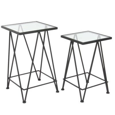 Lavonia 2 Piece Metal Glass Nesting Tables Set