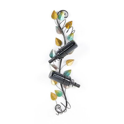 Annetta Botanical Leaf 4 Bottle Wall Mounted Wine Bottle Rack