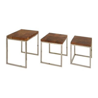 Karli Teak Stainless Steel 3 Piece Nesting Tables