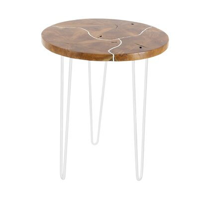 Keena Teak End Table Color: White
