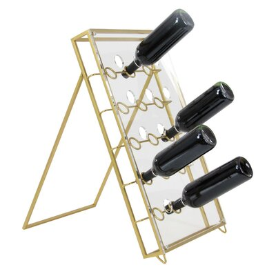 Crawford Metal Acrylic 30 Bottle Floor Wine Bottle Rack Finish: Golden